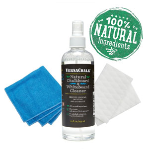 Chalkboard Cleaning Kit with All-Natural Spray, Microfiber Cloth and Magic Foam Erasers
