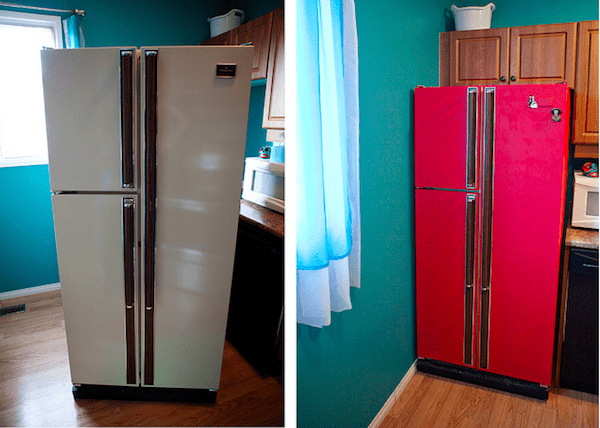 Red refrigerator this diy project will save you 100 39 s for Chalkboard appliance paint