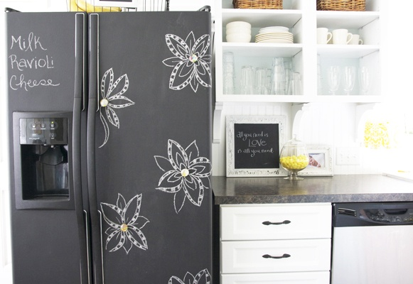 How to make a chalkboard fridge tips tricks ideas for Chalkboard appliance paint