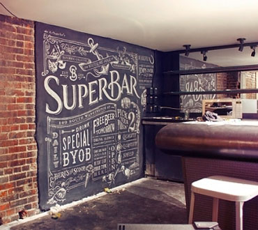 Chalkboard Wall Behind a Bar