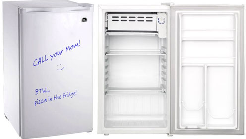 Igloo Eraser Board Compact Fridge in White - Interior and Exterior Views